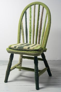 green yarn bombed chair by haimshaus on Etsy, $750.00