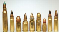 (From left to right) 5.56, 5.7x28mm SS190, 9×19, .224 BOZ, 7.62x25mm Sabot, 7.62x25mm, 5.45x18mm Soviet, 5.7x28mm SS190, 5.7x28mm SS195 LF.