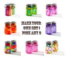 set of any three vintage atlas & ball mason jars .. handmade solar lights : pint size decoupage