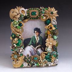 Emerald Green Jade & Gold Jeweled Picture Frame by vintagedesign39