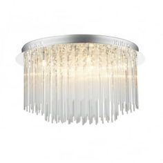 ICICLE circular chrome glass chandelier for low ceilings