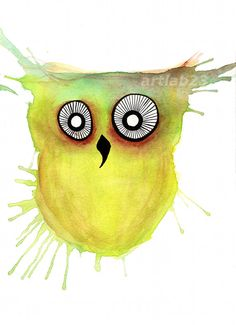Hey, I found this really awesome Etsy listing at https://www.etsy.com/listing/108976849/owl-splatter-art-print-8-x-10-yellow