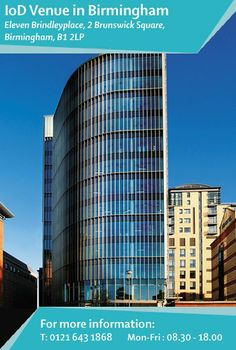 Eleven #Brindleyplace is in an area which is increasingly gaining a reputation as the commercial heart of #Birmingham. The building contains excellent #business facilities for all your #meeting and #working needs. Find out more: http://www.iod.com/your-venues-and-benefits/iod-venues/birmingham
