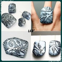 Old silver - polymer clay- brooch, ring, earrings