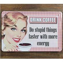 Emaljeskilt Drink coffee - Do stupid things - NiceWall.dk