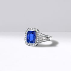 An exceptionally rare unheated Kashmir sapphire and diamond ring set in platinum. This unique piece of jewellery features a 4.92 carat vivid blue cushion shaped sapphire from the Kashmir mines, widely acknowledged for producing the finest sapphires.   #GeorgePragnell   http://www.pragnell.co.uk/products/masterpieces/rings/sapphire/5661022