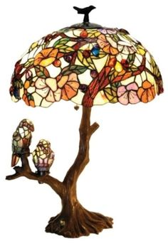 Floral hibiscus parrots * new stained glass table lamp
