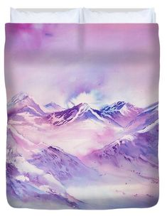 Sabina Von Arx – Mountains in all 4 Seasons – Duvet Covers for Sale – winterland scape Watercolor Paintings, Original Paintings, Mountain Art, Alpine Mountain, Winter Images, Winter Scenery, Winter Landscape, Mountain Landscape, Season Colors