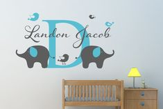 Name Wall Decal Elephant Wall Decal Bird Wall by NewYorkVinyl