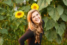 summer girl sunflower field senior pictures