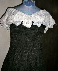 Vtg 70s black and white lace gown formal by ChloeandNatalieVtg, $59.00