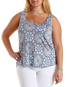 Plus Size Printed High-Low Pocket Tank Top: Charlotte Russe #CharlotteRussePlus #Charlotte0to24 #Plus