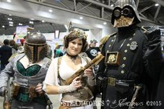 Steamworks & Shadows members Steampunk Darth Vader and Honey Goode teamed up with this steampunk Leia to make an awesome steampunk Star Wars picture at Planet Comicon 2015.