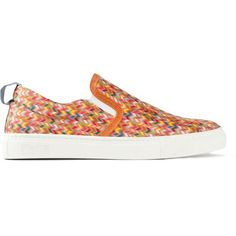 Fefè Africa Slip-on Sneakers (€110) ❤ liked on Polyvore featuring shoes, sneakers, zig zag shoes, colorful sneakers, slip-on sneakers, flat shoes and leather slip-on shoes