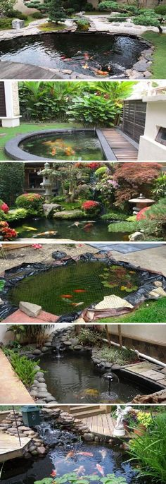 Small Koi Pond Design Ideas - A small koi pond is a distinct sort of home water feature. Koi fish need feeding also a carefully managed aquatic surroundings. Backyard Water Feature, Ponds Backyard, Backyard Ideas, Backyard Waterfalls, Garden Ponds, Diy Garden, Pond Landscaping, Landscaping With Rocks, Design Fonte