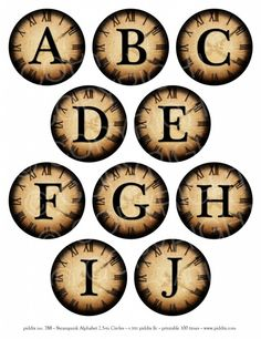 Steampunk Alphabet A to J 2.5-inch circles