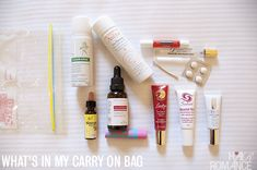 What's in my carry-on beauty bag for long haul flights - by @Hair Romance