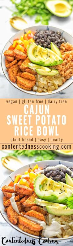 Super easy to make and incredibly satisfying: This Cajun Sweet Potato Rice bowl is naturally vegan gluten free and infused with all the best cajun flavors. An amazing dinner lunch meal prep work lunch and budget friendly meal which the whole family wi Veggie Recipes, Lunch Recipes, Whole Food Recipes, Vegetarian Recipes, Cooking Recipes, Healthy Recipes, Budget Cooking, Corn Recipes, Donut Recipes