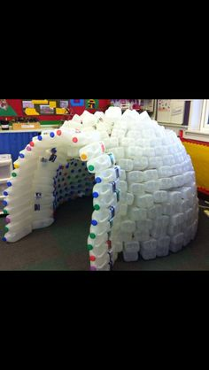 Milk bottle igloo , amazing!