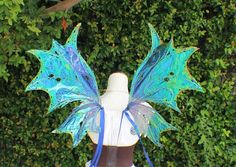 Blue / Green Iridescent Water Fairy Wings by WildPlumBoutique