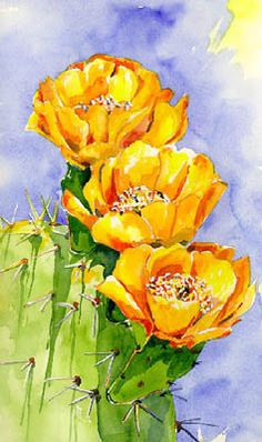 Cactus in bloom - it's happening soon in the American southwest! - Cactus in bloom – it's happening soon in the American southwest! Cactus Painting, Watercolor Cactus, Cactus Art, Cactus Flower, Painting & Drawing, Flower Art, Watercolor Paintings, Cactus Decor, Cactus Plants