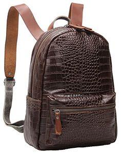 3fcd3c4be3 Iblue Crocodile Embossed Genuine Leather Backpack School Bookbag Travel  Shoulder Bag  i513 (brown)