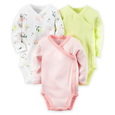 carter's® 3-Pack Side Snap Long Sleeve Bodysuits in Pink/Yellow