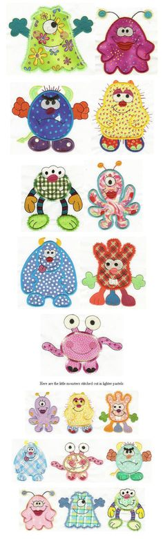 Designs: monsters -- lots and lots of monsters Sewing Appliques, Applique Patterns, Applique Quilts, Applique Designs, Quilt Patterns, Sewing Machine Embroidery, Machine Applique, Free Machine Embroidery Designs, Hand Embroidery