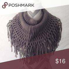 Gray Fishnet Fringe Infinity Scarf This infinity scarf is perfect for any outfit! Especially during the winter time! This scarf is 100% acrylic! The measurements are 14 inches X 49 inches! Can be wrapped twice (like the picture! Accessories Scarves & Wraps
