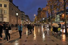 Rain-slicked Sidewalks Along the Champs Elysee Sparkle Under Streetlamps in Paris, France