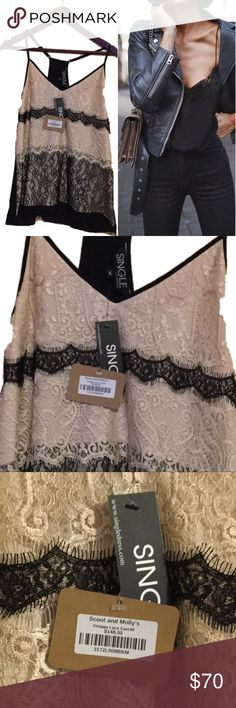 Luxury Vintage Lace camisole scout and Molly Accented with airy lace, this slinky camisole is perfect for dinner dates and alfresco drinks.  V-neck 100% nylon  Machine wash, line dry Imported Scout & Molly's Single Los Angeles Tops Camisoles