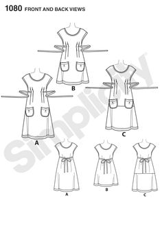Simplicity 1080 - Misses' Dress or Tunic • View B tunic XL (22-24) requires 2 1/8 yd + 3/8 yd for contrast pocket • would make a lovely sewing apron or gardening tunic