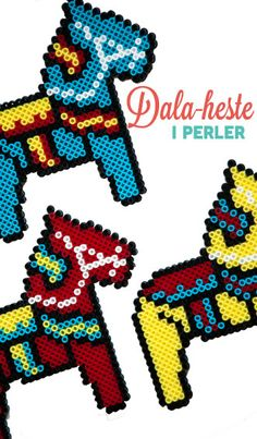 Dala horses in hama beads Pearler Bead Patterns, Pearler Beads, Fuse Beads, Hama Art, Perler Bead Mario, Cultural Crafts, Nerd Crafts, Christmas Crafts To Make, Iron Beads