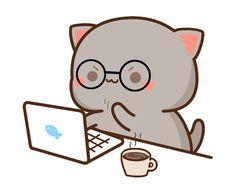 Cute Love Gif, Cute Love Pictures, Cute Cat Gif, Cute Cats, Cute Bear Drawings, Cute Cartoon Drawings, Cute Kawaii Animals, Kawaii Cat, Chibi Cat