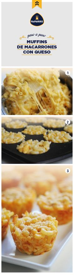 Si de algo estamos seguros, es de que ¡aman los Macarrones con Queso! Pero, ¿qué tal si los preparas como pequeños muffins?