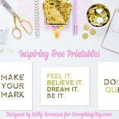 Inspiring Free Printables {Designed by Kelly Sorenson} (Everything Etsy) Free Printable Art, Gift Tags Printable, Free Printables, Diy Wall Art, Diy Art, Art Desk, Etsy Business, Free Stuff, Craft Ideas