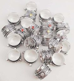 Wholesale Lot Silver Plated, Multi Quartz, Spinning Spinner Wide Band, Spinner Meditation Ring Challa Jewelry US SZ 6 to Handmade Sterling Silver, Sterling Silver Jewelry, 925 Silver, Three Band Rings, Meditation Rings, Bohemian Rings, Rings For Girls, Copper Jewelry, Spinning