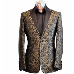BlackandGold Black velvet and gold floral embroidery suit jacket ...