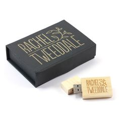 An engraved USB Stick and gift box package for a professional wedding photographer