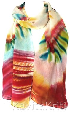 Silk shawl, Watercolor scarf, Hand painted gift for her by KavitaKriti  https://www.etsy.com/listing/199710447/watercolor-scarf-silk-shawl-color-scarf?ref=shop_home_active_1