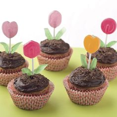 Check out these adorable and easy flower garden cupcakes!