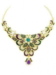 Elegant Gold Plated Necklace Set Embellished With Different Colored Stones
