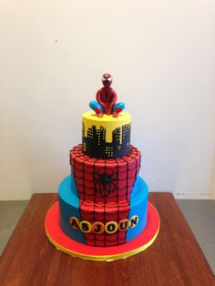Spiderman Themed Birthday Cake