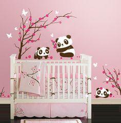 Baby Girls Nursery Room with Tree and Panda Wall Stickers Dinosaur Wall Decals, Animal Wall Decals, Nursery Decals, Kids Wall Decals, Kids Stickers, Vinyl Wall Stickers, Nursery Room, Girl Nursery, Kids Bedroom