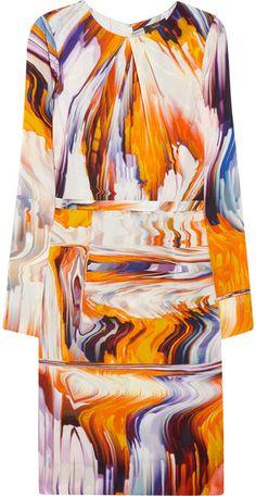 Printed Stretch Silkblend Dress