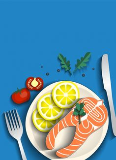 Grilled salmon and vegetables Free Vector Food Graphic Design, Food Design, Graphic Design Inspiration, Flat Illustration, Food Illustrations, Graphic Design Illustration, Sgraffito, Foto Cartoon, Posca Art