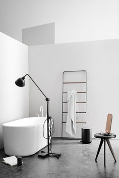 Buy Towel Ladder from Menu. The Towel Ladder is an informal and flexible piece of furniture made for storing towels and accessories in the bathroom - cl. Interior Design Examples, Interior Design Inspiration, Bad Inspiration, Bathroom Inspiration, Storing Towels, Toilet Roll Holder, Toilet Brush, Bathroom Interior, Bathroom Storage