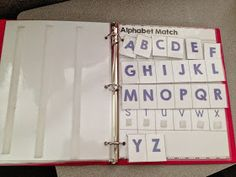 Alphabet match. I like this idea so children can practice letters, name, and can be used with words. This site has free printables.
