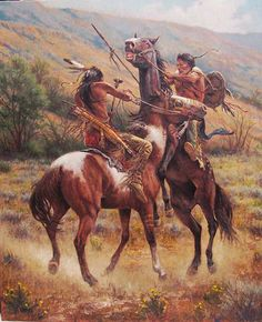 Native American Warriors in battle Native American Horses, Native American Warrior, Native American Paintings, Native American Pictures, Native American Beauty, Native American Artists, American Indian Art, Native American History, Indian Paintings