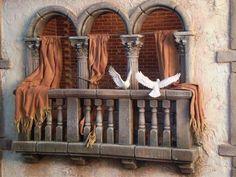 Miniature Rooms, Miniature Houses, Journey To Bethlehem, Fontanini Nativity, Doll House Crafts, Creepy Dolls, Christmas Nativity, Stage Design, Window Design
